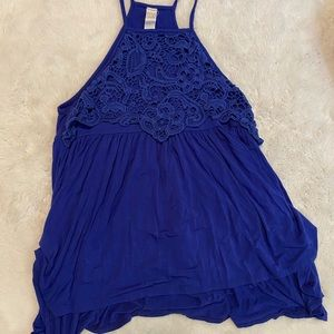 3/$12 Dress Up eyelet lace blue high low tunic tank top sz S